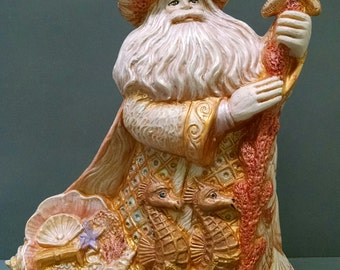SALE!!!   Ocean Santa -- Heirloom-quality handpainted ceramic Santa -- Christmas mantel decor