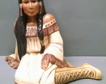 SALE!!!Ceremonial Maiden--Native American Indian Figurine--Heirloom Quality--Hand-painted Ceramic--Home Decor--Native American Art