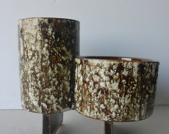 Hand made, textured, un-signed Studio Potter Double cylinder Vase!