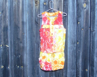 hand-dyed, up-cycled colorful rompers!