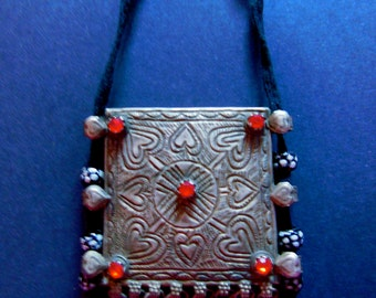 Afghan Tribal Kuchi Gypsy Large Necklace Belly Dance Jewelry Alpaca Silver Hearts!