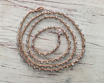 Boho beachwrap bracelet or necklace Boho Beach Glam/ Beach jewelry/waterproof/versatile/sea green