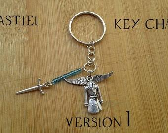 A Castiel themed key chain.