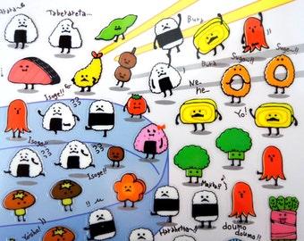 Japanese onigiri sushi bento box stickers - kawaii food stickers - sushi emoticon faces - rice ball - tamagoyaki rolled omelet - vegetable
