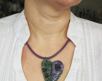 Handmade Necklace with Amethyst Gemstones Embedded in Purple/Green Tone Clay Pendant on Purple Leather Cord with Magnetic Clasp