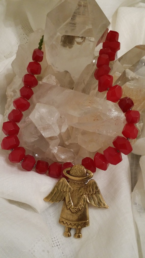 Red Semi Precious Stone Necklace with Brass Angel Pendant