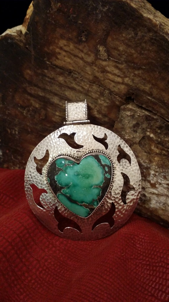 Signed (KZ) Vintage Hammered Sterling Silver Turquoise Heart Pendant with Bird Design and Large Bail