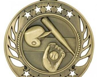 baseball medal, sport medals, engraved medals with neck ribbons, engraving included, baseball award, baseball team medal