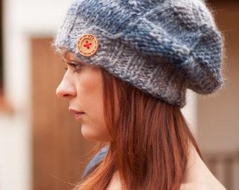 Hand Knit Winter Hat, Womens Wool Beanie, Handmade Wooden Button Detail, Custom Color