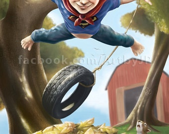 Superman - Little Dreamers Cute Painting Poster Print
