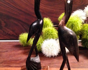 Two Vintage Bird Figures Hand Carved From Horn