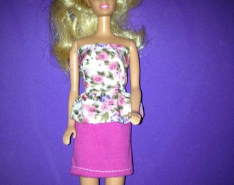 Barbie doll pink skirt with floral top