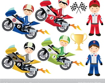 Digital Clipart - Motorcycle Racing for Scrapbooking, Invitations, Paper crafts, Cards Making, only FOR PERSONAL USE