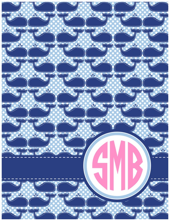 Monogrammed Spiral Notebook - Stitched Whales