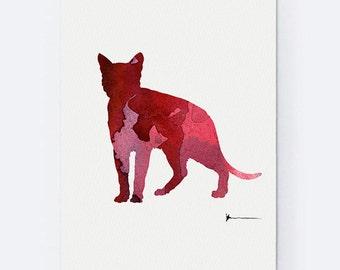 Bengal Cat Art Print, Red Pink Purple Wall Decor,Cat Kids Room Painting, Animal Watercolour