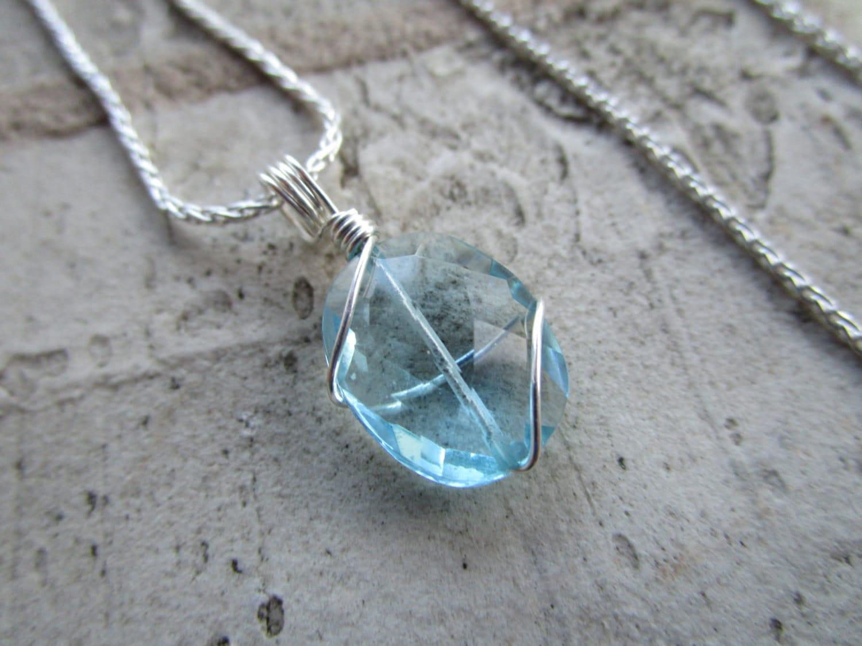 topaz blue quartz necklace
