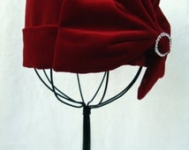 Red Velvet Girls Cloche Hat, Downton Abbey and Great Gatsby Inspired