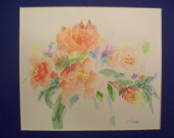 ELEANOR G. SUSS Watercolor Painting,original,art,painting,flowers,small,red, green, yellow,bud,rose,bloom,spring,blossom,plant,