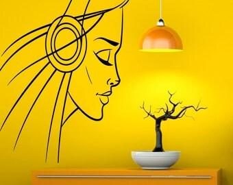 Girl Silhouette Headphones Wall Decal Music Vinyl Decal Sticker Murals Interior Recording Night Club Decor (24za7he)