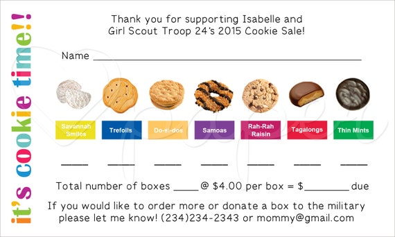 girl scout cookie order receipt thank you card by hartpaper