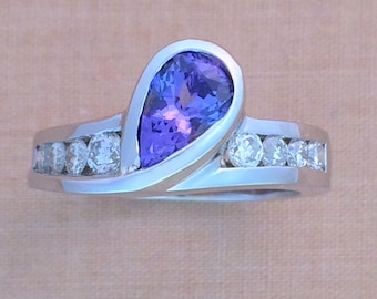Blue Violet Tanzanite & Diamond Ring - 18K White Gold - Tear Drop Center - Pear Shape - Alternative Engagement Ring - December Birthstone