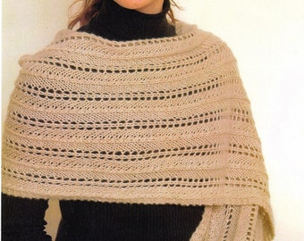 Patterned Shawl Knitting Pattern - Knitted Shawl Pattern - Hand Knit Shawl Pattern - Plymouth Yarn Design Studio Royal Cashmere Shawl