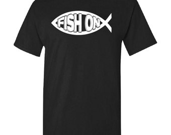 Custom Christian Fishing T-Shirt FISH ON Ichthus Tee