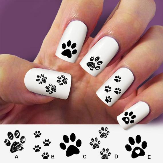 Patte de chat patte de chien nail art nail stickers nail - Nail art chat ...