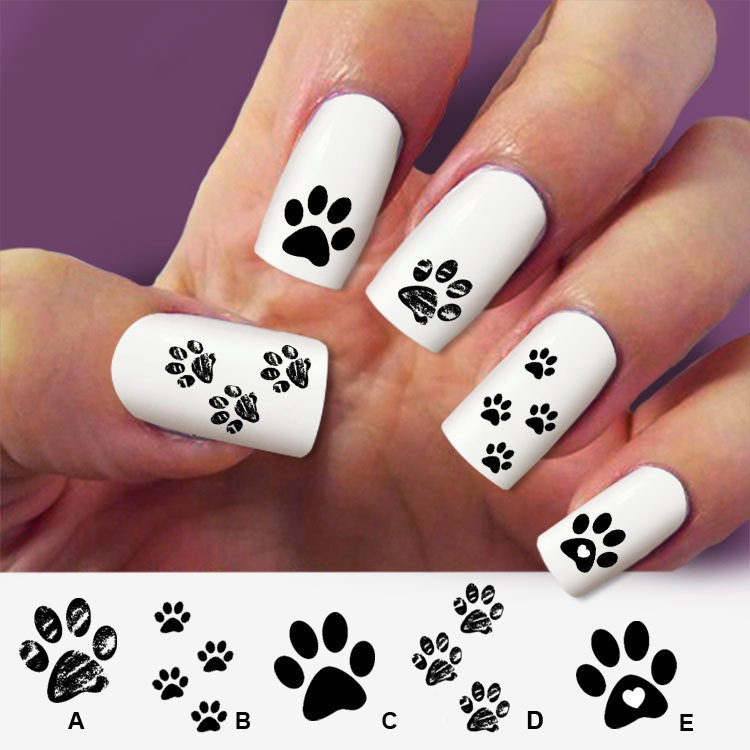 Nail art designs dog colorful paw prints nail decal dog design view images  paw cat dog - Paw Print Nail Art Graham Reid
