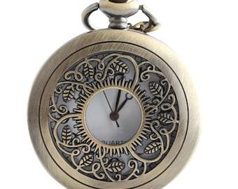 1pcs/ 45mm ,Round SunFlower pocket watch Necklace Chain,Necklace Pendant,craft supply BM-22
