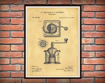 Patent 1885 Coffee Mill Coffee Grinder - Art Print  Poster Print - Coffee Shop Wall Art - Starbucks Wall Art