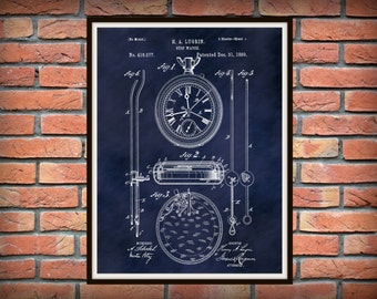 Patent 1889 Pocket Watch - Stop Watch Patent Art Print - Time Piece - Poster - Wall Art - Clock - Home or Office Decor
