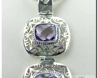 ITALIAN Made!! Vintage Filigree Antique Setting 57 Carats Amethyst 925 SOLID Sterling Silver Pendant + Snake Chain & FREE Shipping p74