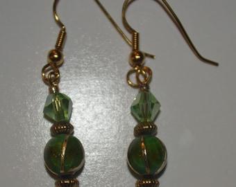 green handcrafted beaded earrings