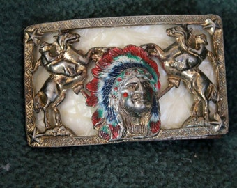 Vintage Western Cowboy Indian Belt Buckle