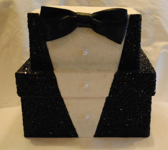 TUX, Wedding, Groom, Groomsmen Gift Box, Bride to Groom Gift Box, TUXEDO Keepsake Box, Unique Tux