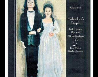 "Vintage Print 1994 : Michael Jackson / Lisa Marie Presley Ori Hofmekler Wall Art Decor Advertisement 8.5"" x 11"""