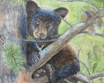 "Bear cub in a tree. Print watercolor painting 8 ""x10"". Painting, Art, Wild Animals"