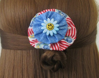 Happy Face Hair Clip, Red White and Blue, YoYo Hair Clips, Vintage Floral, eclectiKIDS