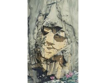 Giclee print / Heathen maiden painting / Rock face painting / Alpine Climbing Cliff Nature Mountain Mountaineering painting / Art print