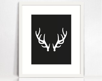Antler print. Art print download. Antler decor. Black and white antler poster. Antler art. Printable wall decor. Deer art print download.