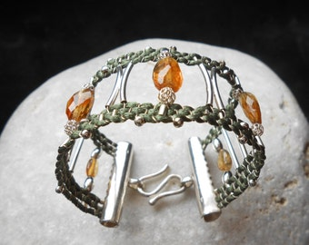 Hand woven Silver Bracelet with Citrine Gems - Loom woven Cuff in warm orange & olive green - fiber art jewellery - handmade weaving