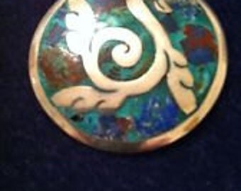 Taxco-Sterling-Silver-And-Stone-Inlay-Brooch-Pendant-Resembles-A-Swan-Lovely