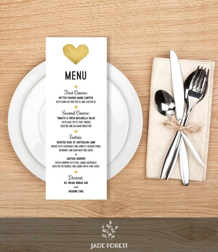 Wedding Menu Card DIY Gold Whimsical Watercolor Heart