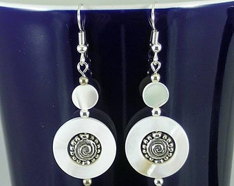 Mother of Pearl Celtic Spiral Earrings