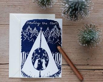 Stealing the Stars – Handprinted greeting card.