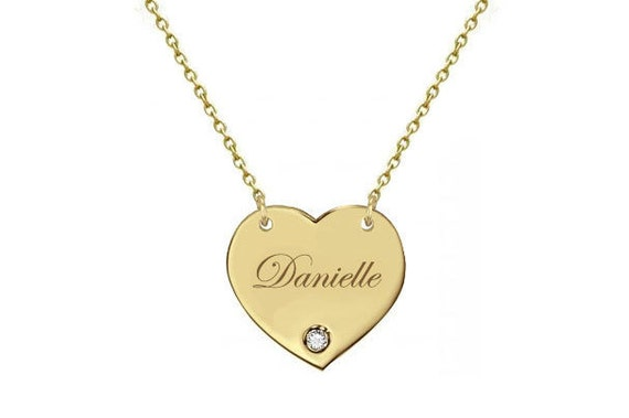Gold Heart Diamond Necklace, Personalized