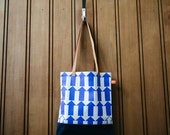 ON SALE! Book Bag Blue Arrow / Navy Print Graphic Screenprinted with tan leather handles
