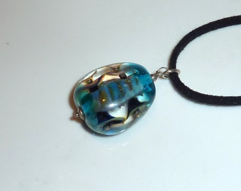 Blue Handmade Lampwork Pendant, Lampwork Pendant,, Glass Pendant