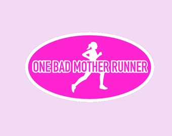 One Bad Mother Runner Running Magnet - Car Magnet-Car Decal